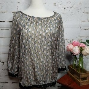 The Limited Partridge Bird Gathered Waist Blouse